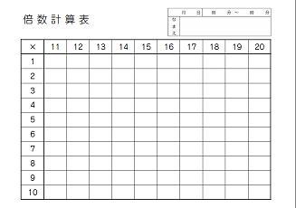 ... コーナー | 倍数計算表 : 百ます計算 印刷 : 印刷